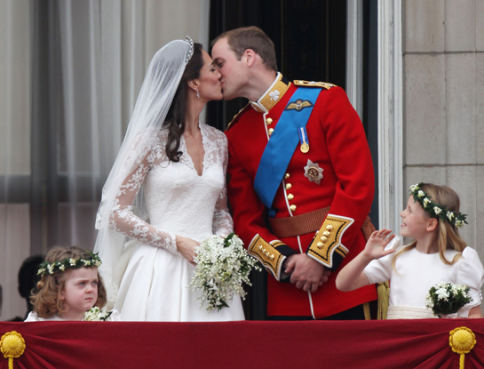 Royal Wedding Prince William Kisses Kate Middleton On The