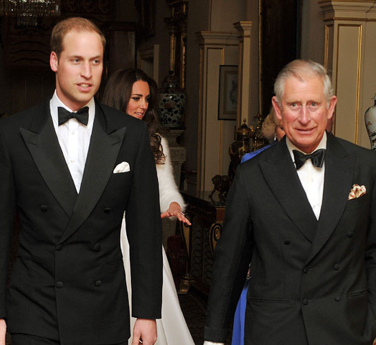 Meanwhile Prince William was dapper in a black tuxedo looking more at ease